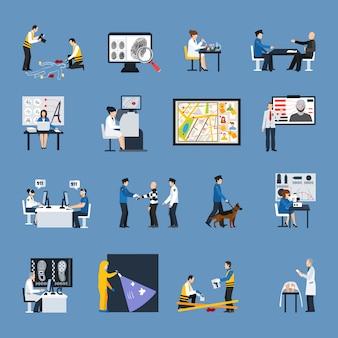 Conjunto de iconos planos de investigación de crimen