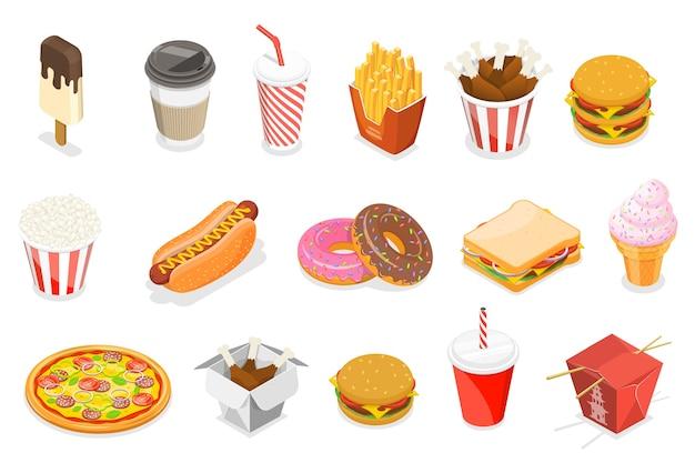 Conjunto de iconos planos isométricos como hot dog, donut, helado, pizza, papas fritas, café, refrescos, cubo de pollo, sándwich, comida asiática.