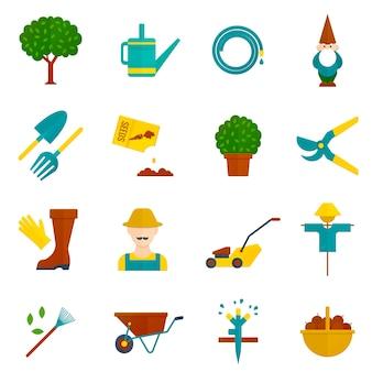 Conjunto de iconos planos de jardín vegetal