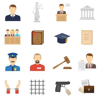 Conjunto de iconos planos de justicia
