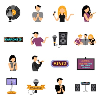 Conjunto de iconos planos de karaoke