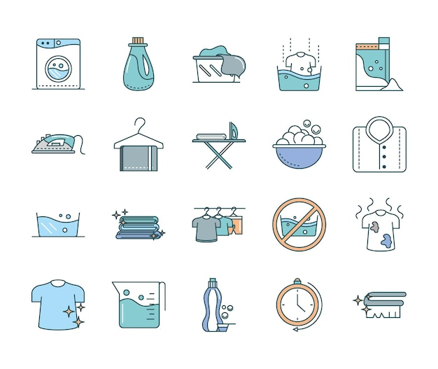Conjunto de iconos planos de lavandería