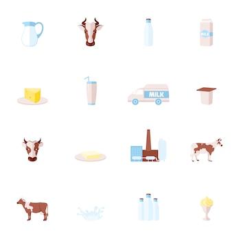 Conjunto de iconos planos de leche