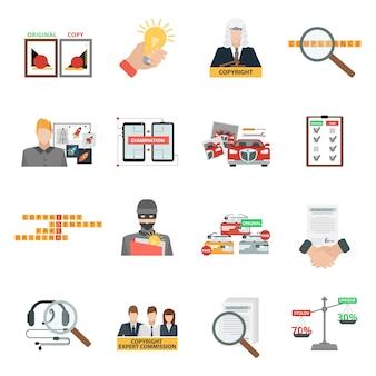 Conjunto de iconos planos de la ley de derechos de autor