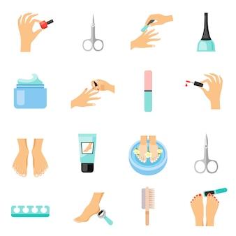 Conjunto de iconos planos de manicura y pedicura