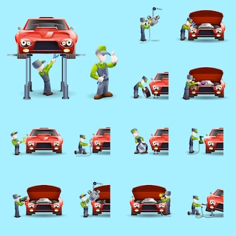 Conjunto de iconos planos de mecánica automotriz