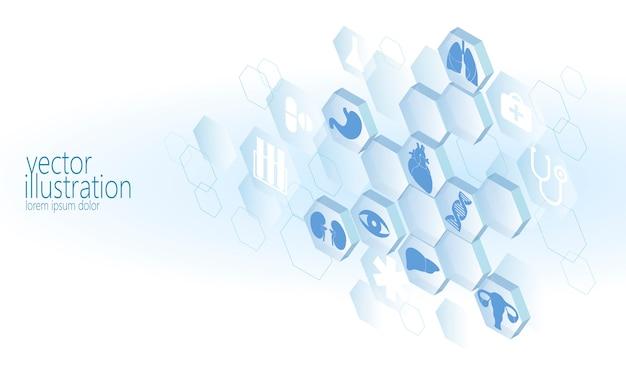 Conjunto de iconos planos médicos hexagonales, centro de medicina de innovación de ambulancia