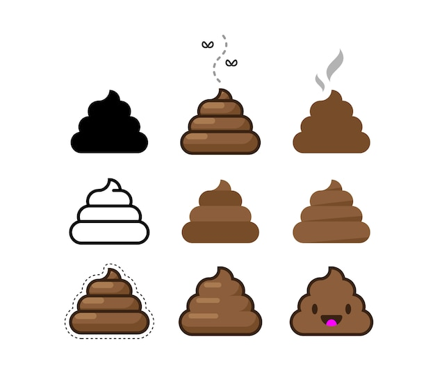 Conjunto de iconos planos de mierda. montón de mierda marrón