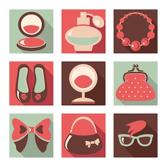Conjunto de iconos planos de moda mujer
