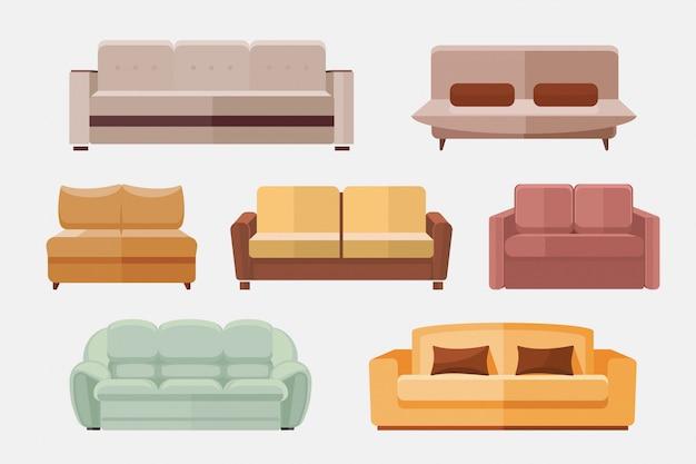 Conjunto de iconos planos de muebles sofá y sofás