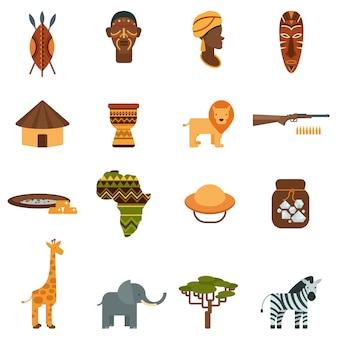 Conjunto de iconos planos mundo africano
