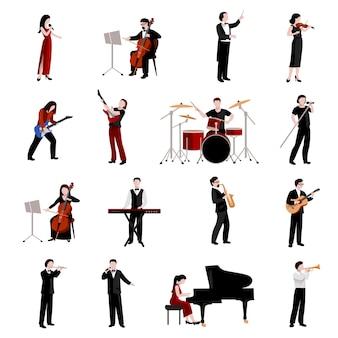 Conjunto de iconos planos de músicos con pianista clarinete trompeta guitarristas