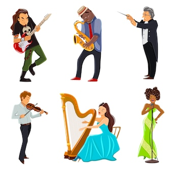 Conjunto de iconos planos de músicos