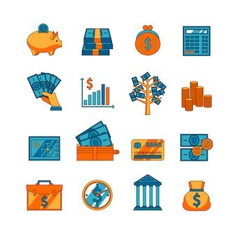 Conjunto de iconos planos de negocio de finanzas