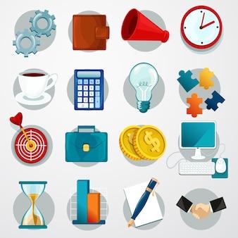 Conjunto de iconos planos de negocios
