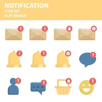 Conjunto de iconos planos de notificación.