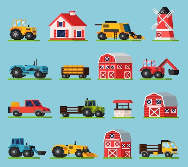 Conjunto de iconos planos ortogonales de granja