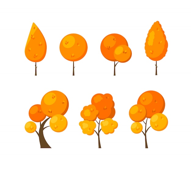 Conjunto de iconos planos otoño árboles aislados en blanco.