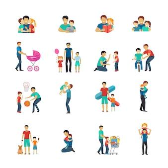Conjunto de iconos planos de paternidad con padre jugando con niños.