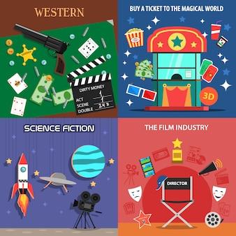 Conjunto de iconos planos de película