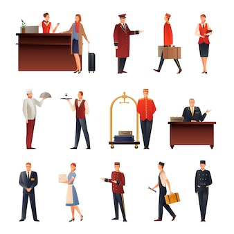 Conjunto de iconos planos del personal del hotel