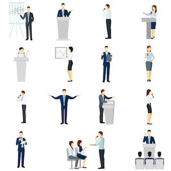 Conjunto de iconos planos de personas que hablan en público