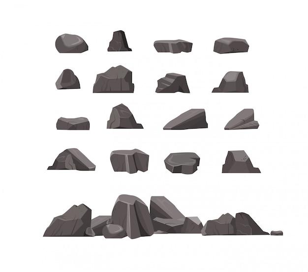 Conjunto de iconos planos de piedras de roca