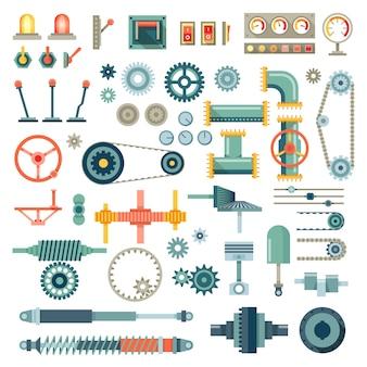 Conjunto de iconos planos de piezas de maquinaria. mecánico de engranajes, pieza de equipo, mecánico de motor técnico industrial