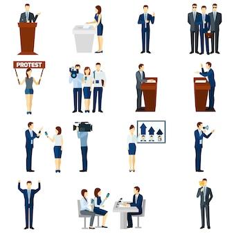 Conjunto de iconos planos de política