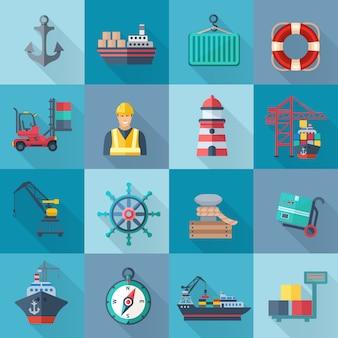 Conjunto de iconos planos de puerto de mar