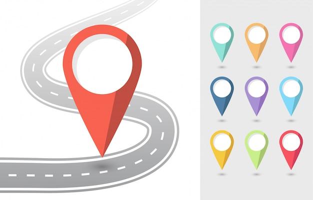 Conjunto de iconos planos de punteros con carretera