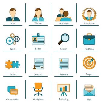 Conjunto de iconos planos de recursos humanos