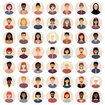 Conjunto de iconos planos redondos con personas. nacionalidades diferentes.