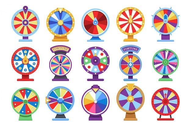 Conjunto de iconos planos de ruedas de fortuna.