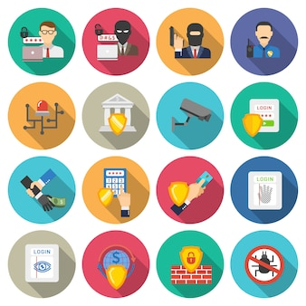 Conjunto de iconos planos de seguridad de banco