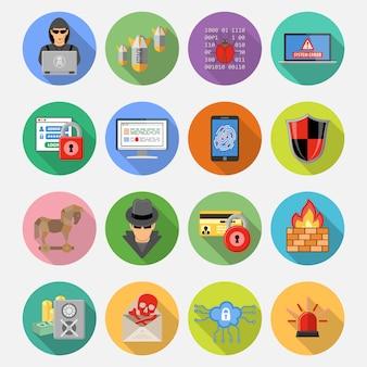 Conjunto de iconos planos de seguridad de internet