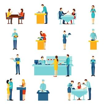 Conjunto de iconos planos de servicio de catering