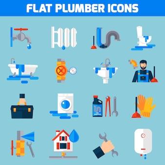 Conjunto de iconos planos de servicio de fontanero