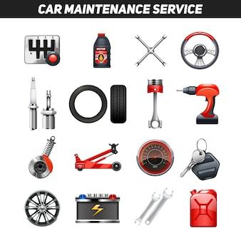 Conjunto de iconos planos de servicio de mantenimiento de coche