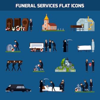 Conjunto de iconos planos de servicios funerarios
