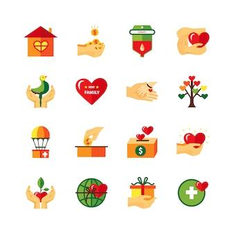 Conjunto de iconos planos de símbolos de caridad