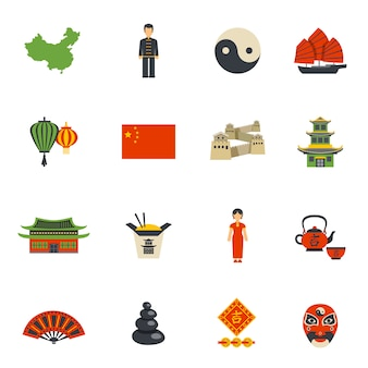 Conjunto de iconos planos de símbolos de la cultura china