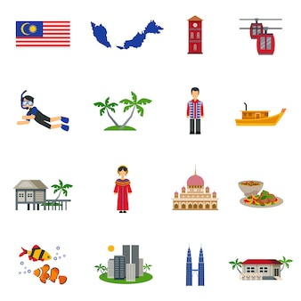 Conjunto de iconos planos de símbolos de la cultura de malasia