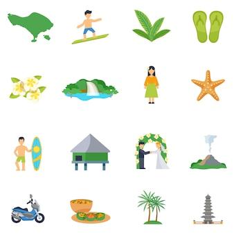 Conjunto de iconos planos sobre bali