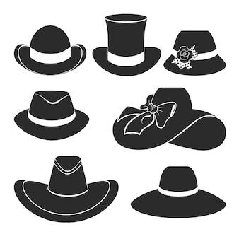 Conjunto de iconos planos con sombreros clásicos