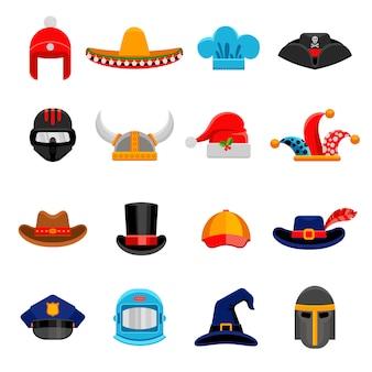 Conjunto de iconos planos de sombreros graciosos