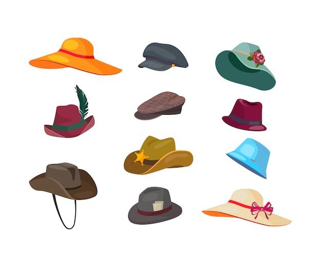 Conjunto de iconos planos de sombreros de hombre y mujer