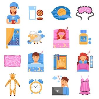 Conjunto de iconos planos de sueño saludable