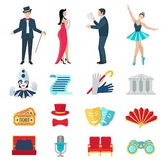 Conjunto de iconos planos de teatro
