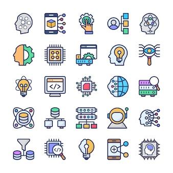 Conjunto de iconos planos de tecnología de ciencia de datos